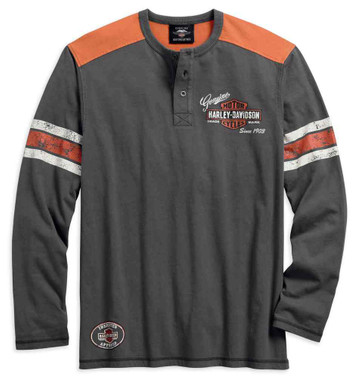 Harley-Davidson Men's Genuine Oil Can Long Sleeve Henley, Asphalt 99064-18VM - Wisconsin Harley-Davidson