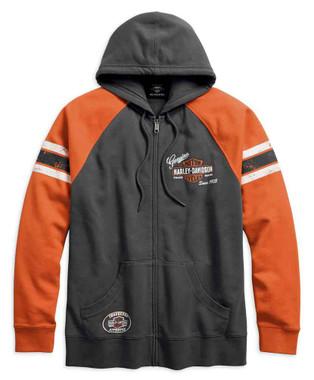 Harley-Davidson Men's Genuine Oil Can Zippered Hoodie, Asphalt 99065-18VM - Wisconsin Harley-Davidson