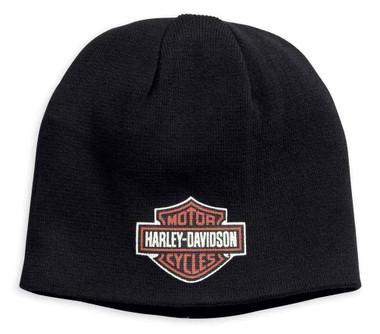 Harley-Davidson Men's Reversible Cotton Knit Beanie Hat, Black 99431-18VM - Wisconsin Harley-Davidson