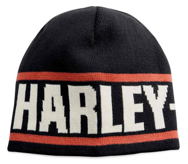 Harley-Davidson Men's Reversible Cotton Knit Beanie Hat, Black 99431-18VM - Wisconsin Harley-Davidson