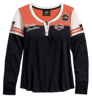 Harley-Davidson Women's Classics Colorblocked Long Sleeve Henley 99075-18VW - Wisconsin Harley-Davidson