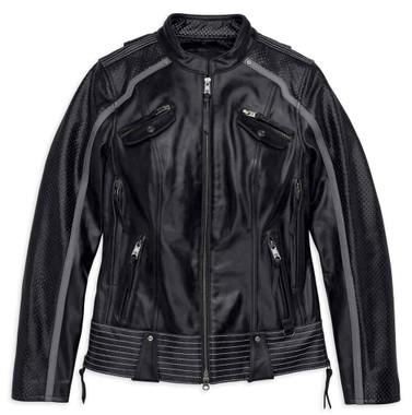 Harley-Davidson Women's Hairpin Vented Leather Jacket, Black 98029-18VW - Wisconsin Harley-Davidson