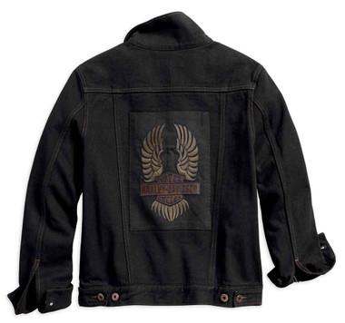 Harley-Davidson Women's Winged Applique Denim Jacket, Black 98593-18VW - Wisconsin Harley-Davidson
