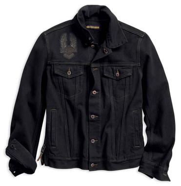 Harley-Davidson Men's Eagle Applique Slim Fit Denim Jacket, Black 98592-18VM - Wisconsin Harley-Davidson