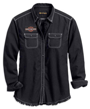 Harley-Davidson Women's Studded Raw Hem Long Sleeve Woven Shirt 99102-18VW - Wisconsin Harley-Davidson