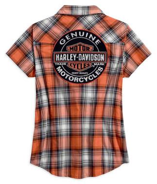 Harley-Davidson Women's Genuine Oil Can Plaid Short Sleeve Shirt 99071-18VW - Wisconsin Harley-Davidson
