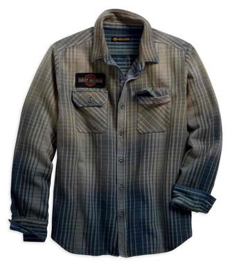 Harley-Davidson Men's Schematic Plaid Slim Fit Long Sleeve Shirt 99097-18VM - Wisconsin Harley-Davidson