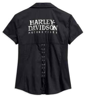 Harley-Davidson Women's Willie G Skull Zip-Front Shirt, Black 99072-18VW - Wisconsin Harley-Davidson