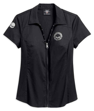 Harley-Davidson Women's Willie G Skull Zip-Front Shirt, Black 99072-18VW - Wisconsin Harley-Davidson