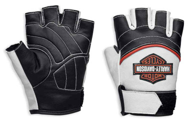 Harley-Davidson Womens Whistler Bar & Shield Fingerless Gloves, White 98167-18VW - Wisconsin Harley-Davidson