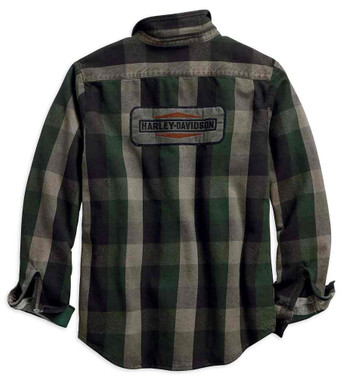 Harley-Davidson Men's Applique Plaid Long Sleeve Slim Fit Woven Shirt 99096-18VM - Wisconsin Harley-Davidson