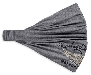 Harley-Davidson Women's Embroidered Winged Logo Headwrap, Gray 99445-18VW - Wisconsin Harley-Davidson