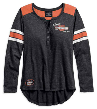 Harley-Davidson Women's Genuine Oil Can Long Sleeve Henley, Black 99070-18VW - Wisconsin Harley-Davidson