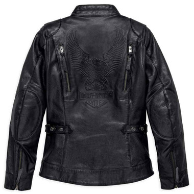 Harley-Davidson Women's Line Stitcher Leather Jacket, Black 98031-18VW - Wisconsin Harley-Davidson