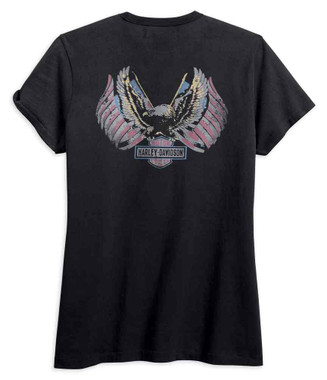 Harley-Davidson Women's Distressed Eagle Flag Short Sleeve Tee, Black 99099-18VW - Wisconsin Harley-Davidson