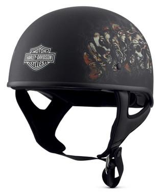 Harley-Davidson Men's Gnashing Low Profile J01 Half Helmet, Black 98175-18VX - Wisconsin Harley-Davidson