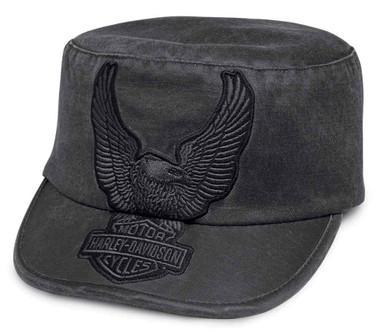 Harley-Davidson Women's Eagle Applique Flat Top Cap, Asphalt Gray 99446-18VW - Wisconsin Harley-Davidson
