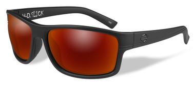 Harley-Davidson Men's Slick Sunglasses, Red Mirror Lens / Black Frames HASLK11 - Wisconsin Harley-Davidson