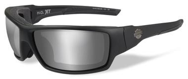 Harley-Davidson Mens Jet PPZ Silver Flash Sunglasses, Matte Black Frames HDJET07 - Wisconsin Harley-Davidson
