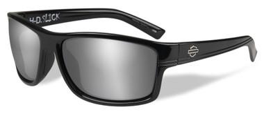 Harley-Davidson Men's Slick Silver Flash Sunglasses, Gloss Black Frames HASLK02 - Wisconsin Harley-Davidson