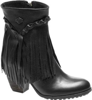 Harley-Davidson Women's Retta Black or Tan 6-Inch Stacked Heel Booties, D83985 - Wisconsin Harley-Davidson