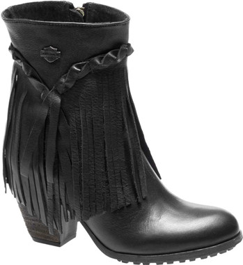 Harley-Davidson Women's Retta Black or Tan 6-Inch Stacked Heel Booties, D83985 - Wisconsin Harley-Davidson