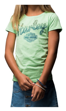 Harley-Davidson Girls' Apple Green Haven Ride Short Sleeve Crew Tee 5Q04-HE3M - Wisconsin Harley-Davidson