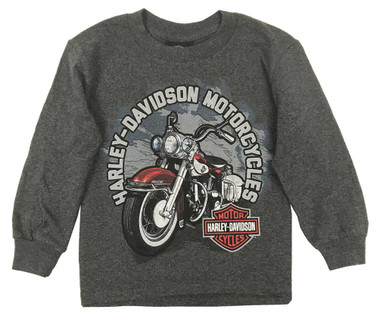 Harley-Davidson Little Boy's Biker Sidekick Long Sleeve Shirt, Charcoal Heather - Wisconsin Harley-Davidson