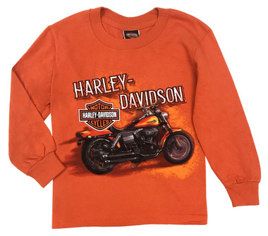 Harley-Davidson Big Boy's Hold Tight Long Sleeve Tee Shirt, Orange 5531-HE2L - Wisconsin Harley-Davidson
