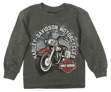 Harley-Davidson Big Boy's Biker Sidekick Long Sleeve Shirt, Charcoal Heather - Wisconsin Harley-Davidson