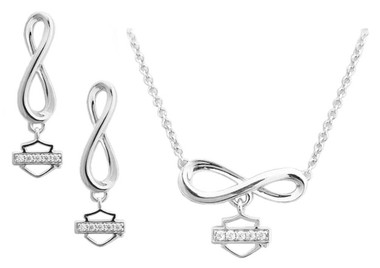 Harley-Davidson Women's Bling Infinity Necklace & Earrings Gift Set HDS0009-18 - Wisconsin Harley-Davidson