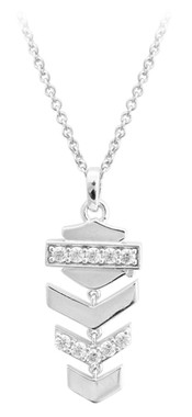 Harley-Davidson Women's Embellished Chevron Drop Necklace, Silver HDN0406-16 - Wisconsin Harley-Davidson