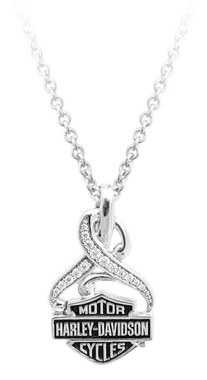 Harley-Davidson Women's Bling Crystal Filigree B&S Necklace, Silver HDN0409-16 - Wisconsin Harley-Davidson