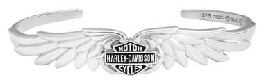 Harley-Davidson Women's Classic Double Wing B&S Cuff Bracelet, Silver HDB0384 - Wisconsin Harley-Davidson