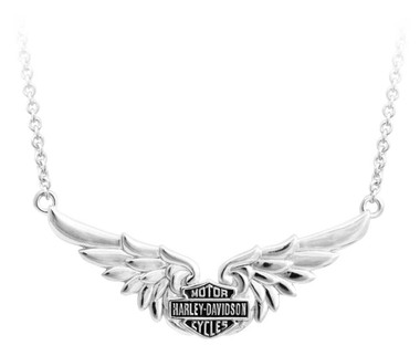 Harley-Davidson Womens Classic Double Wing B&S Chain Necklace, Silver HDN0405-16 - Wisconsin Harley-Davidson