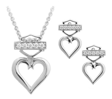 Harley-Davidson Women's Bling Heart Necklace & Post Earrings Gift Set HDS0008-18 - Wisconsin Harley-Davidson
