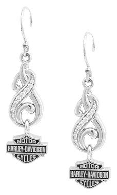 Harley-Davidson Womens Bling Filigree Bar & Shield Drop Earrings, Silver HDE0464 - Wisconsin Harley-Davidson