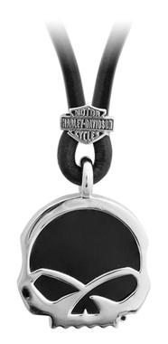 Harley-Davidson Men's Engraved Skull Onyx Necklace, Sterling Silver HDN0412-22 - Wisconsin Harley-Davidson