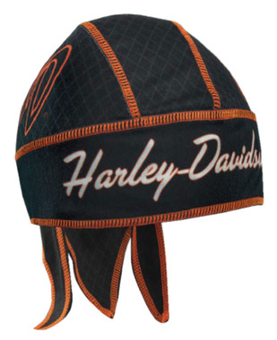 Harley-Davidson Women's Flaming H-D Initials Headwrap, Black & Orange HW26230 - Wisconsin Harley-Davidson