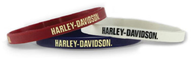 Harley-Davidson Debossed Nostalgic H-D Silicone Wristband, 3 Pack WB28484 - Wisconsin Harley-Davidson