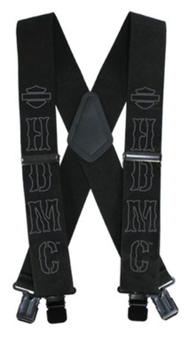 Harley-Davidson Men's HDMC Black Suspenders, Extra Long Size 54 Inch SUS27676 - Wisconsin Harley-Davidson