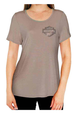 Harley-Davidson Women's BNS Sleepy Embellished B&S Short Sleeve Lounge Shirt - Wisconsin Harley-Davidson
