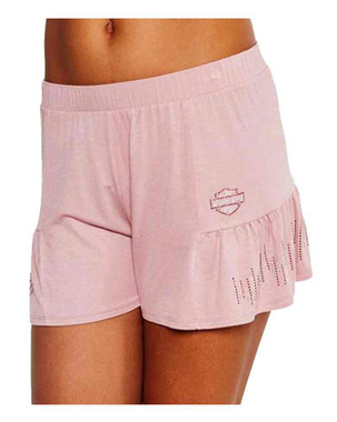 Harley-Davidson Women's BNS Flair Embellished Side Pleated Sleep Shorts, Pink - Wisconsin Harley-Davidson