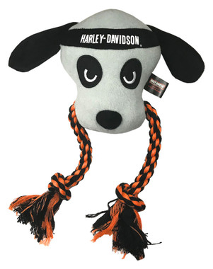 Harley-Davidson Stitched Dog Rope Tug Plush Squeaker Toy - 10 inch H8400P22DOG - Wisconsin Harley-Davidson