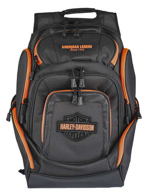 Harley-Davidson Neon Orange Bar & Shield Deluxe Backpack, Black BP2000S-ORGBLK - Wisconsin Harley-Davidson