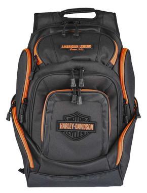Harley-Davidson Neon Orange Bar & Shield Deluxe Backpack, Black BP2000S-ORGBLK - Wisconsin Harley-Davidson