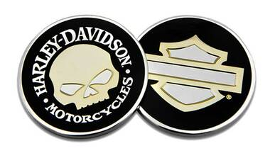 Harley-Davidson Mirror Skull B&S Challenge Coin, 1.75 in Coin, Black 8008505 - Wisconsin Harley-Davidson