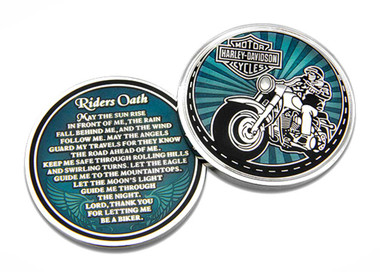 Harley-Davidson Rider's Oath Challenge Coin, 1.75 in Coin, Blue & Silver 8008581 - Wisconsin Harley-Davidson