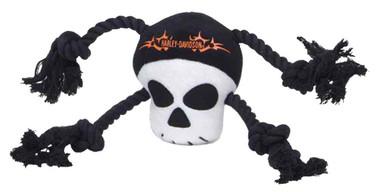 Harley-Davidson Plush Skull Rope Tug Squeaker Toy - 12.5 inch H8400 H P23DOG - Wisconsin Harley-Davidson