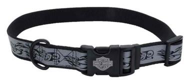 Harley-Davidson Adjustable Reflective Skull & Flames Dog Collar - Gray - Wisconsin Harley-Davidson